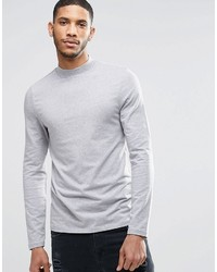 Asos Brand Muscle Long Sleeve T Shirt With Turtleneck In Gray