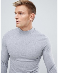 ASOS DESIGN Muscle Fit Long Sleeve T Shirt With Turtle Neck In Grey Marl