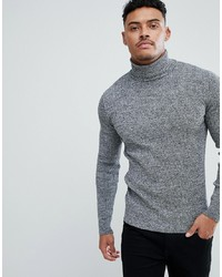 ASOS DESIGN Muscle Fit Ribbed Roll Neck Jumper In Black White Twist