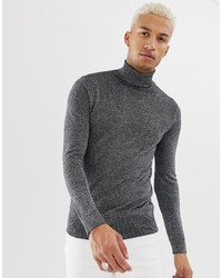 Night Addict Silver Metallic Roll Neck Jumper