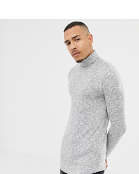 ASOS DESIGN Tline Long Sleeve T Shirt With Roll Neck And Curved Hem In Brushed Fabric In Grey