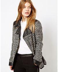 Barney's Originals Barneys Originals Tweed Coat With Leather Look Collar