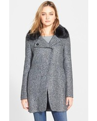 Faux fur trim asymmetrical tweed coat medium 177321