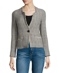 Isabel Marant Leary Structured Tweed Blazer Gray