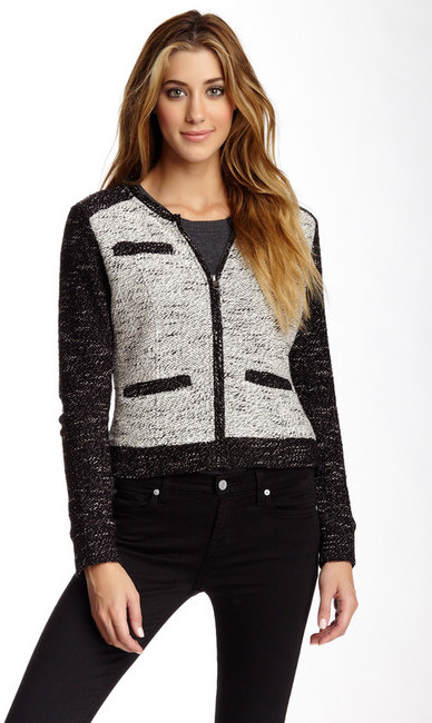 Blanc Noir Tweed Raglan Sleeve Jacket