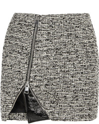 Wool blend tweed and faux patent leather mini skirt medium 299065