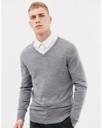 Selected Homme 100% Merino Knitted V Neck Jumper