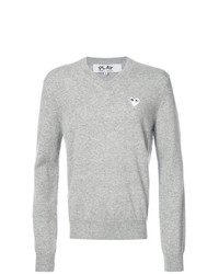 Comme Des Garcons Play Comme Des Garons Play V Neck Pullover With White Heart