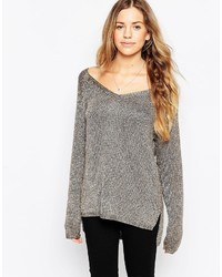 Brave Soul V Neck Sweater With Metallic Thread