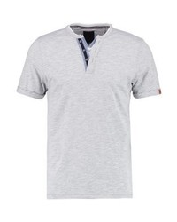 Produkt Pktgms Fake Split Neck Print T Shirt Light Grey Melange