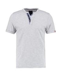 Pktgms fake split neck print t shirt light grey melange medium 4157252
