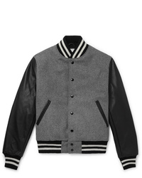 Golden Bear The Albany Wool Blend And Leather Bomber Jacket