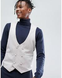 ASOS DESIGN Asos Super Skinny Waistcoat In Ice Grey Velvet
