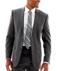 Grey Vertical Striped Blazer