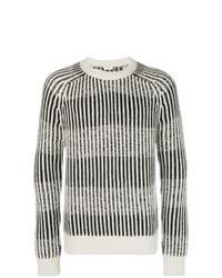 Grey Vertical Striped Crew-neck Sweater