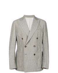 Grey Vertical Striped Double Breasted Blazer
