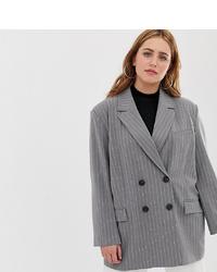 Asos Curve Asos Design Curve Dad Suit Blazer In Grey Pinstripe
