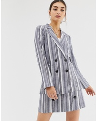 NA-KD Stripe Double Breasted Co Ord Blazer In Blue