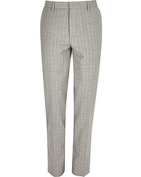 Grey Vertical Striped Dress Pants