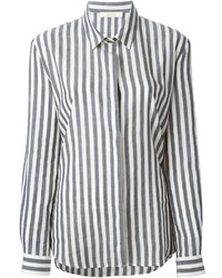 Grey Vertical Striped Dress Shirt