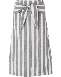 Grey Vertical Striped Midi Skirt