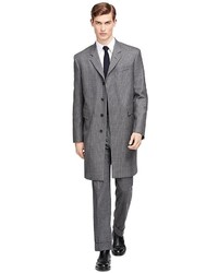 Grey Vertical Striped Overcoat
