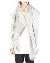 Grey Vertical Striped Scarf