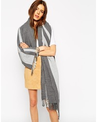 Asos Collection Oversized Scarf With Stripes