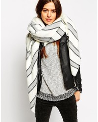 Asos Collection Oversized Square Scarf With Multi Gray Stripe