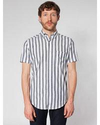 Grey Vertical Striped Short Sleeve Shirt