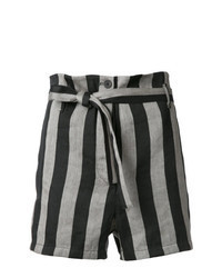 Grey Vertical Striped Shorts