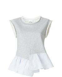 3.1 Phillip Lim French Terry Ruffle Hem Top