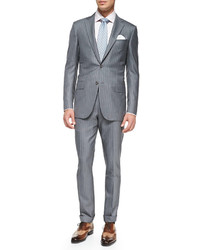 Grey Vertical Striped Suit