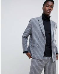 Grey Vertical Striped Wool Double Breasted Blazer