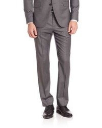 Grey Vertical Striped Wool Dress Pants