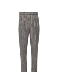 Isabel Marant Vermer Tapered Pleated Striped Slub Cotton Blend Trousers