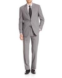 Grey Vertical Striped Wool Suit