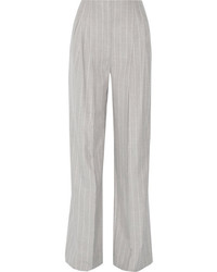 Protagonist Pinstriped Wool Wide Leg Pants Gray