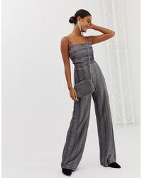 Miss Selfridge Wide Leg Trousers In Metallic Stripe