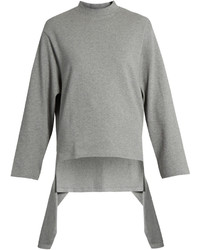 Balenciaga Draped Panel Round Neck Cotton Sweatshirt