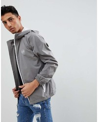 Hollister Hooded Windbreaker Jacket With Icon Seagull And Sleeve Logo In Gray