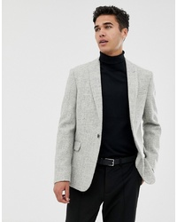 ASOS DESIGN Asos Slim Suit Jacket In 100% Wool Harris Tweed In Light Grey