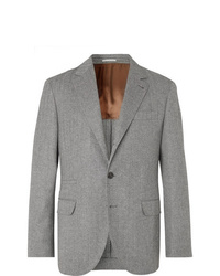 Brunello Cucinelli Grey Herringbone Virgin Wool And Cashmere Blend Suit Jacket