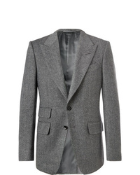 Tom Ford Grey Shelton Slim Fit Herringbone Wool Blend Blazer