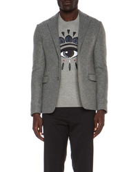 Kenzo Milano Wool Blend Blazer With Contrast Elbow Patches
