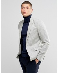 Asos Skinny Blazer In Gray 100% Wool