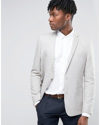Asos Skinny Blazer In Gray Wool Mix
