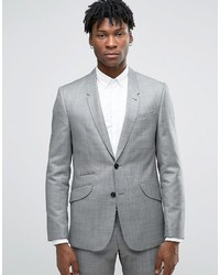 Asos Slim Suit Jacket In Gray 100% Wool