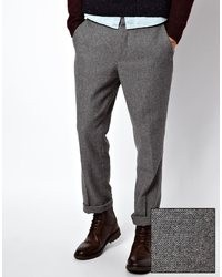 Asos Slim Fit Smart Pants In Wool Mix Gray