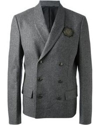Grey Wool Double Breasted Blazer